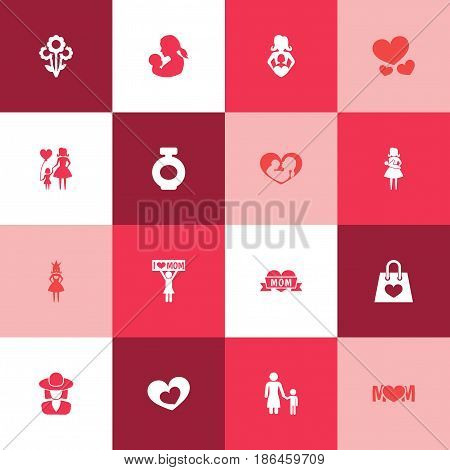 Mothers Day Icon Design Concept. Set Of 16 Such Elements As Queen, Mother And Package. Beautiful Symbols For Shopping, Text And Bottle.