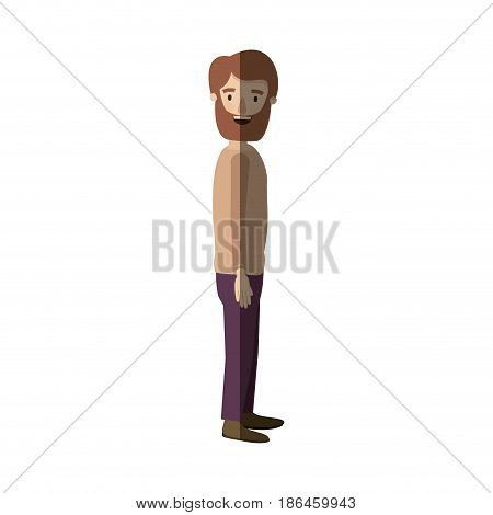light color shading caricature full body man with beard and moustache looking to side vector illustration