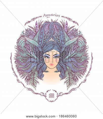 Zodiac sign. Hand drawn portrait of a beautiful woman. Vector illustration of Aquarius zodiac sign.