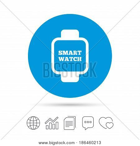 Smart watch sign icon. Wrist digital watch. Copy files, chat speech bubble and chart web icons. Vector
