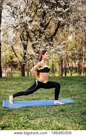 Fitness Woman Doing Stretching Exercises Outdoors On Grass. Girl Doing Hamstring Leg Stretching Exer