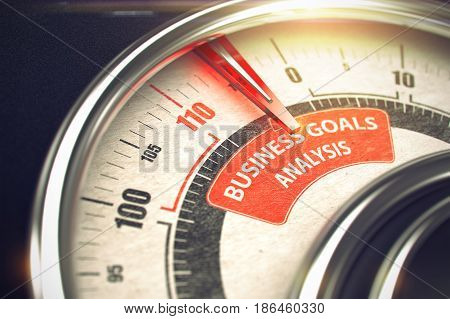 Speedmeter with Red Needle Pointing the Text Business Goals Analysis on Red Label. 3D.