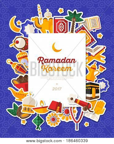 Ramadan Kareem Banner With Flat Sticker Icons Set. Vector illustration. Islamic Concept. Square White Frame with Place for your Text on Blue Background.