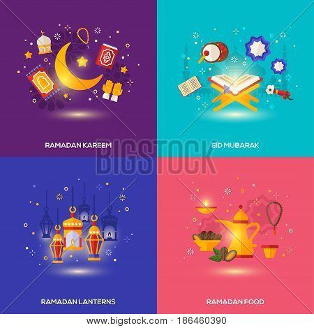 Ramadan Kareem concepts set with flat icons. Vector illustration. Eid Mubarak. Traditional lanterns, Iftar food, religion, Quran.