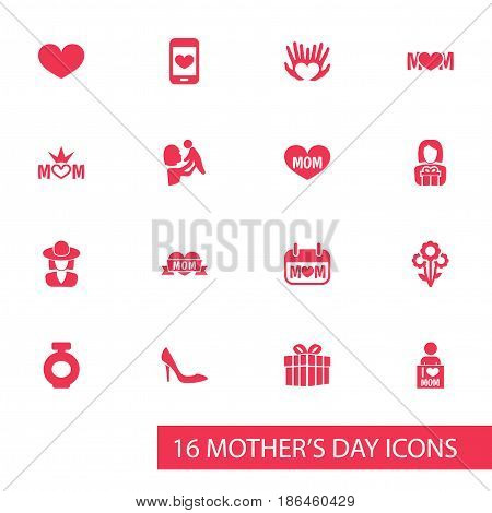 Mothers Day Icon Design Concept. Set Of 16 Such Elements As Palms, I Love Mom And Fragrance. Beautiful Symbols For Bottle, I And Plant.