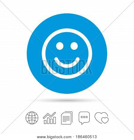 Smile icon. Happy face chat symbol. Copy files, chat speech bubble and chart web icons. Vector