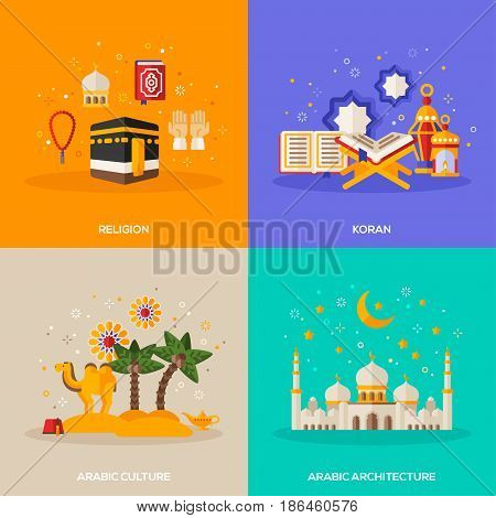 Ramadan Kareem concepts set with flat icons. Vector illustration. Eid Mubarak. Architecture, arabic culture, religion