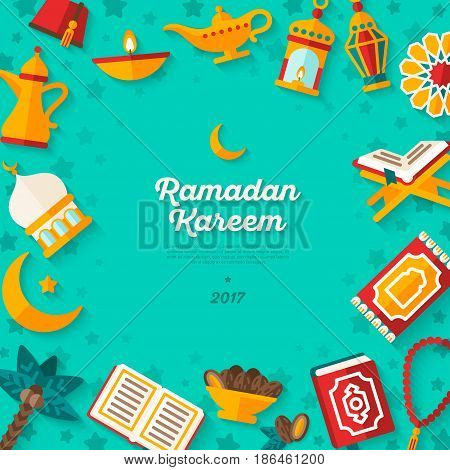 Ramadan Kareem concept banner with flat sticker icons on turquoise background. Vector illustration. Eid Mubarak. Quran, Traditional Lanterns, Dates, Iftar food, Crescent and stars