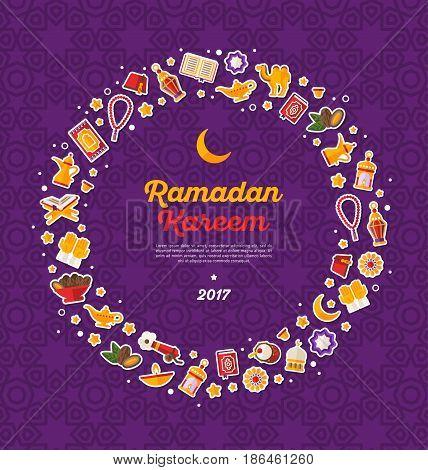 Ramadan Kareem concept round frame with flat sticker icons on violet background. Vector illustration. Eid Mubarak. Quran, Traditional Lanterns, Dates, Iftar food