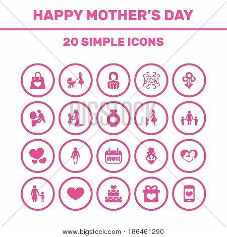 Mothers Day Icon Design Concept. Set Of 20 Such Elements As Kid, Daughter And Madame. Beautiful Symbols For Care, Baby And Day.