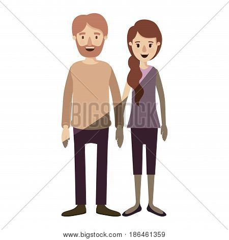light color shading caricature full body couple woman with ponytail side hair and man in casual clothing vector illustration
