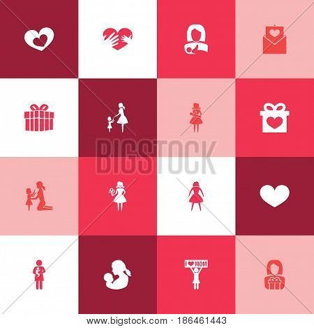 Mothers Day Icon Design Concept. Set Of 16 Such Elements As Letter, Hands, Gift. Beautiful Symbols For Woman, Protect And Present.