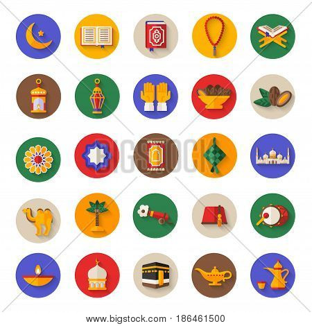 Set of Ramadan Kareem Icons on Circle. Vector Illustration. Quran Book, Traditional Lanterns, Crescent with Star, Mosque and Rosary, Kaaba, Holiday Food, Drum and Gun