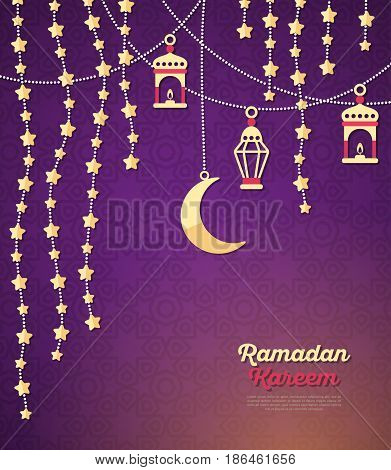 Ramadan Kareem concept banner with arabic decorations on dark ornate background. Vector illustration. Eid Mubarak. Traditional Lanterns, Crescent and stars, Garlands with beads
