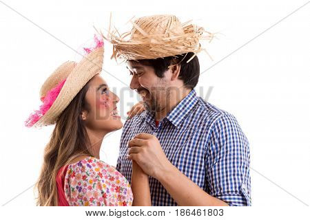 Brazilian couple dancing on Junina Party costume