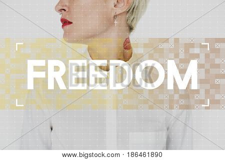 Caucasian woman with freedom word for inspiration