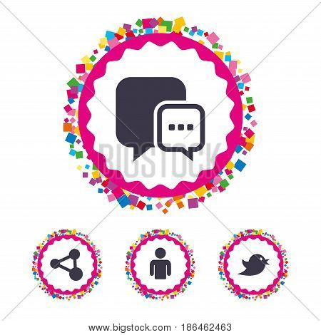 Web buttons with confetti pieces. Social media icons. Chat speech bubble and Share link symbols. Bird sign. Human person profile. Bright stylish design. Vector
