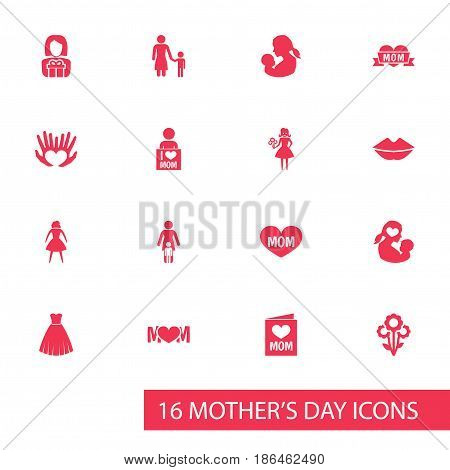 Mothers Day Icon Design Concept. Set Of 16 Such Elements As Design, Flowers And I Love Mom. Beautiful Symbols For Bouquet, Child And Female.