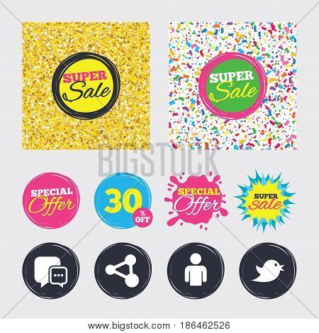 Gold glitter and confetti backgrounds. Covers, posters and flyers design. Social media icons. Chat speech bubble and Share link symbols. Bird sign. Human person profile. Sale banners. Vector
