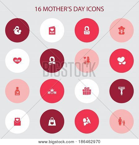 Mothers Day Icon Design Concept. Set Of 16 Such Elements As Kid, Text And I Love Mom. Beautiful Symbols For Envelope, Present And Mother.