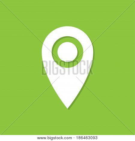 Map pointer icon with shadow in a flat design. Vector illustration