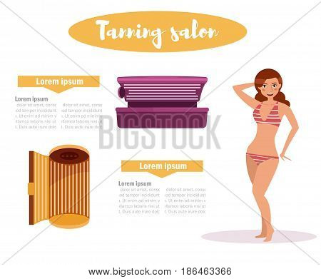 Woman in tanning salon. Isolated art on white background. Vector. Cartoon. Flat