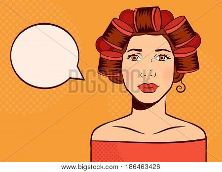 Woman with curlers on her head. Pop art. Isolated art. Vector. Cartoon. Flat