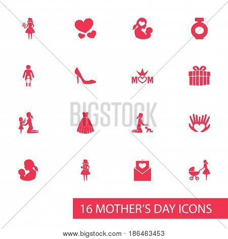 Mothers Day Icon Design Concept. Set Of 16 Such Elements As Evening Gown, Mom And Woman. Beautiful Symbols For Heart, Bouquet And Envelope.