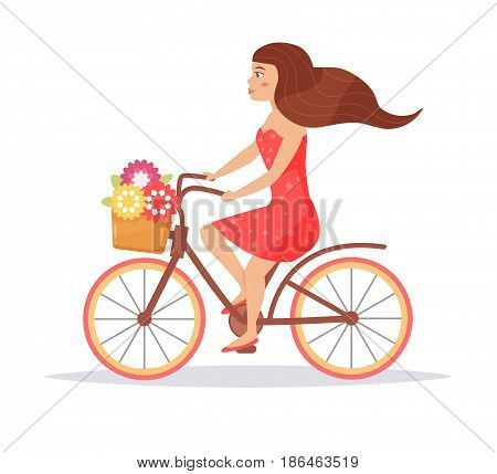 Woman in red dress on bike. Isolated art on white background. Vector. Cartoon. Flat.