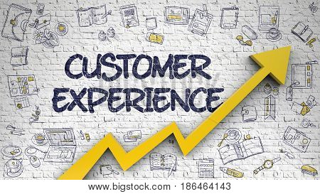 Customer Experience on Modern Style Illustation. with Orange Arrow and Hand Drawn Icons Around. Customer Experience - Business Concept. Inscription on Brick Wall with Doodle Icons Around. 3D.