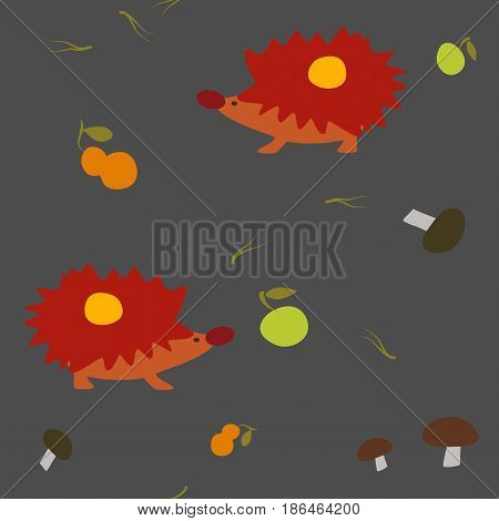 Seamless autumn hedgehogs and leaves pattern. Vector illustration.