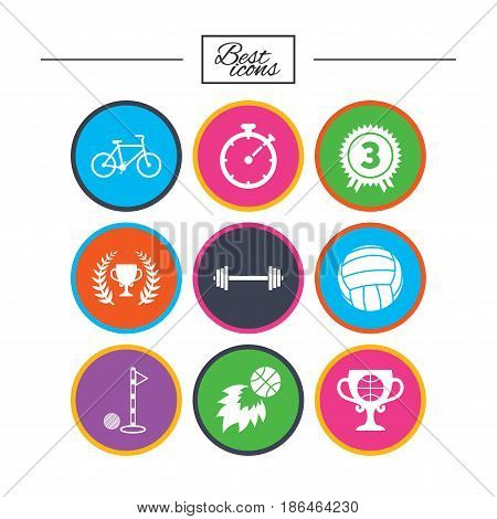 Sport games, fitness icons. Golf, basketball and volleyball signs. Timer, bike and winner cup symbols. Classic simple flat icons. Vector