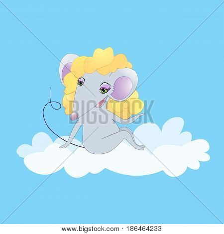 Cute mouse cartoon lady mouse on the cloud. postcard
