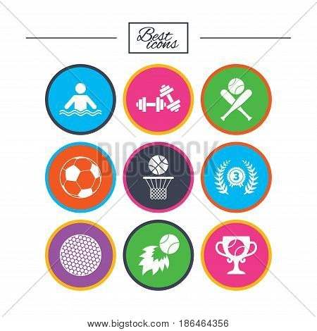 Sport games, fitness icons. Football, basketball and baseball signs. Swimming, fireball and winner cup symbols. Classic simple flat icons. Vector