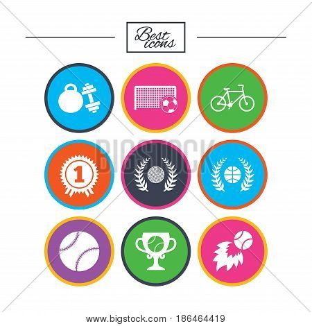 Sport games, fitness icons. Football, basketball and tennis signs. Golf, bike and winner medal symbols. Classic simple flat icons. Vector