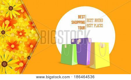 Best shopping tour, advertising banner with paper bags and label from new purchased items on bright summer backdrop. Template, mock-up with yellow field of flowers, chamomile flowers, camomile, daisy.