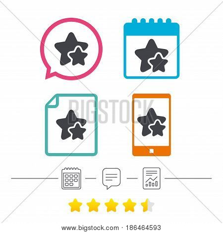 Star icon. Favorite sign. Best rated symbol. Calendar, chat speech bubble and report linear icons. Star vote ranking. Vector