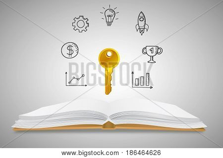 Business Keys and Success Concept : Opened book with golden key and business icons background. (3D Illustration)