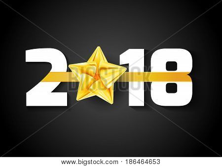 New year bright ribbon over 2018 date. Vector illustration
