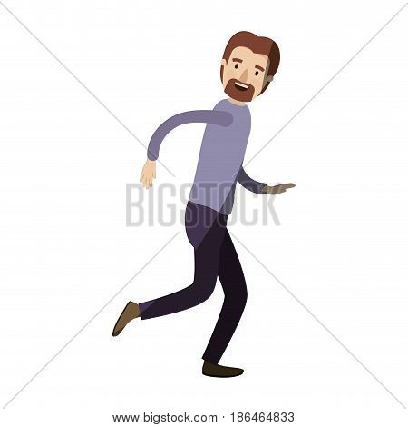 light color shading caricature full body male person with beard and moustache running vector illustration