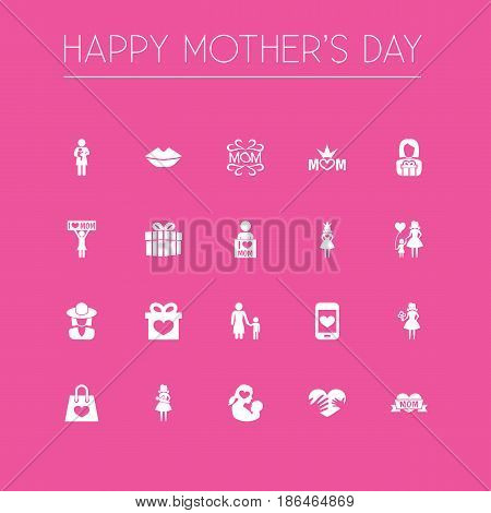 Mothers Day Icon Design Concept. Set Of 20 Such Elements As Package, Loving And Hat. Beautiful Symbols For Smartphone, Newborn And Mouth.