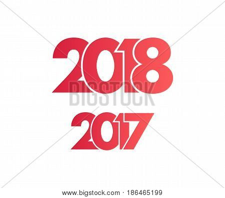 Happy New Year 2018 and 2017 background. Calendar design typography vector illustration. Year number with overlapped digits.