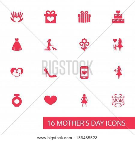 Mothers Day Icon Design Concept. Set Of 16 Such Elements As Evening Gown, Palms And Mam. Beautiful Symbols For Bottle, Female And Dress.