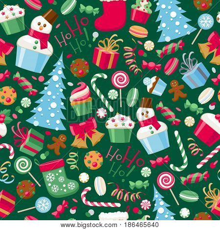 Colorful assorted christmas party icons seamless pattern. Snowman candy cane gift box bell christmas tree cookies socks etc vector illustration. New Year seasonal background.