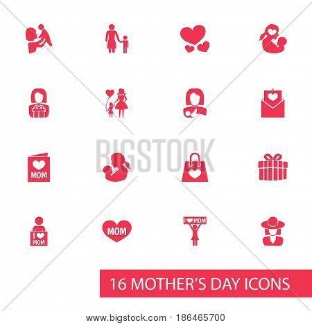 Mothers Day Icon Design Concept. Set Of 16 Such Elements As Baby, Text And Heart. Beautiful Symbols For Letter, Balloon And Shopping.