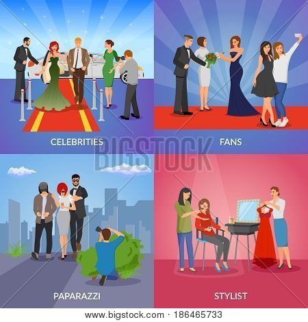 Celebrity 2x2 design concept set of paparazzi stylists fans and vip persons flat vector illustration