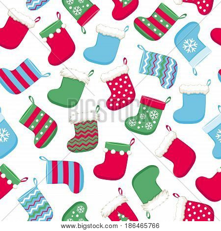 Colorful christmas socks vector seamless pattern. New Year seasonal background. Good for holidays greeting poster banner advertising design.