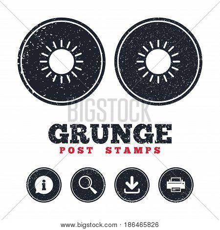 Grunge post stamps. Sun icon. Sunlight summer symbol. Hot weather sign. Information, download and printer signs. Aged texture web buttons. Vector