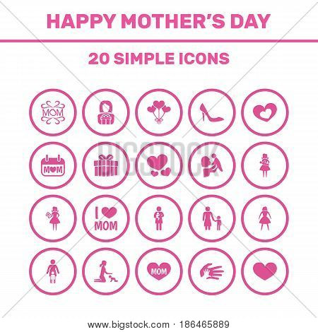 Mothers Day Icon Design Concept. Set Of 20 Such Elements As Mother, Relations And Stiletto. Beautiful Symbols For Balloon, Mom And Flower.
