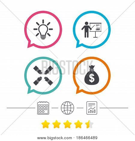 Presentation billboard icon. Dollar cash money and lamp idea signs. Man standing with pointer. Teamwork symbol. Calendar, internet globe and report linear icons. Star vote ranking. Vector